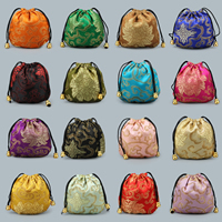 Velvet Jewelry Pouches, Satin, with Nylon Cord & Plastic, more colors for choice, 110x110mm, Sold By PC