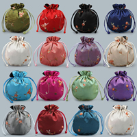 Velvet Jewelry Pouches, Satin, with Nylon Cord, embroidered, more colors for choice, 130x110mm, Sold By PC