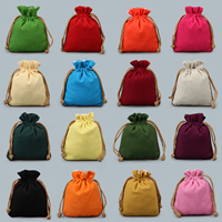 Linen Jewelry Pouches, with Nylon Cord, more colors for choice, 140x110mm, Sold By PC