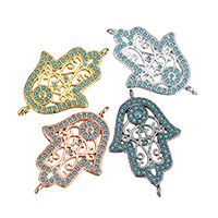 Cubic Zirconia Micro Pave Brass Connector, Hamsa, plated, micro pave cubic zirconia & 1/1 loop & hollow, more colors for choice, 17x26x2mm, Hole:Approx 1mm, Sold By PC
