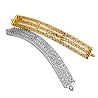 Cubic Zirconia Micro Pave Brass Connector, Rectangle, plated, micro pave cubic zirconia & 1/1 loop, more colors for choice, 45x6x2mm, Hole:Approx 1mm, Sold By PC