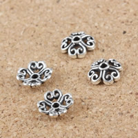 Zinc Alloy Bead Caps, Flower, antique silver color plated, hollow, 7mm, Hole:Approx 1mm, Sold By PC