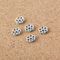 Zinc Alloy Bead Caps, Flower, antique silver color plated, hollow, 6mm, Hole:Approx 1mm, Sold By PC