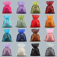 Satin Jewelry Pouches, with Gauze & Nylon Cord, embroidered, more colors for choice, 160x230mm, Sold By PC