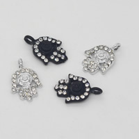Zinc Alloy Hamsa Pendants, plated, with rhinestone, more colors for choice, 11x17x4mm, Hole:Approx 1.5mm, Sold By PC