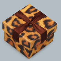 Cardboard Ring Box, with Sponge, Rectangle, leopard pattern, 50x65x25mm, Sold By PC