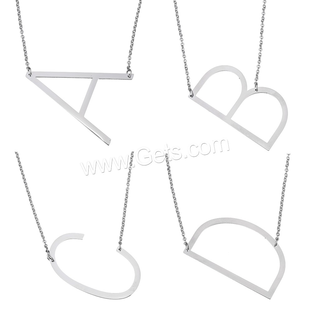 Stainless Steel Jewelry Necklace, with 1.2 lnch extender chain, Letter, oval chain & different styles for choice, original color, 2mm, Length:Approx 20.5 Inch, Sold By Strand