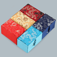 Satin Pendant Box, with Satin Ribbon & Resin, Rectangle, different designs for choice, 65x105x60mm, Sold By PC