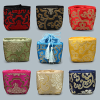 Satin Jewelry Pouches, with Nylon Cord, Rectangle, different designs for choice, 50x70x130mm, Sold By PC