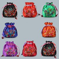Satin Jewelry Pouches, with Nylon Cord & Wood, embroidered, more colors for choice, 120x110mm, Sold By PC