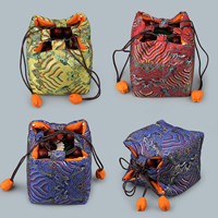 Satin Jewelry Pouches, with Waxed Cotton Cord, embroidered, more colors for choice, 120x120x140mm, Sold By PC