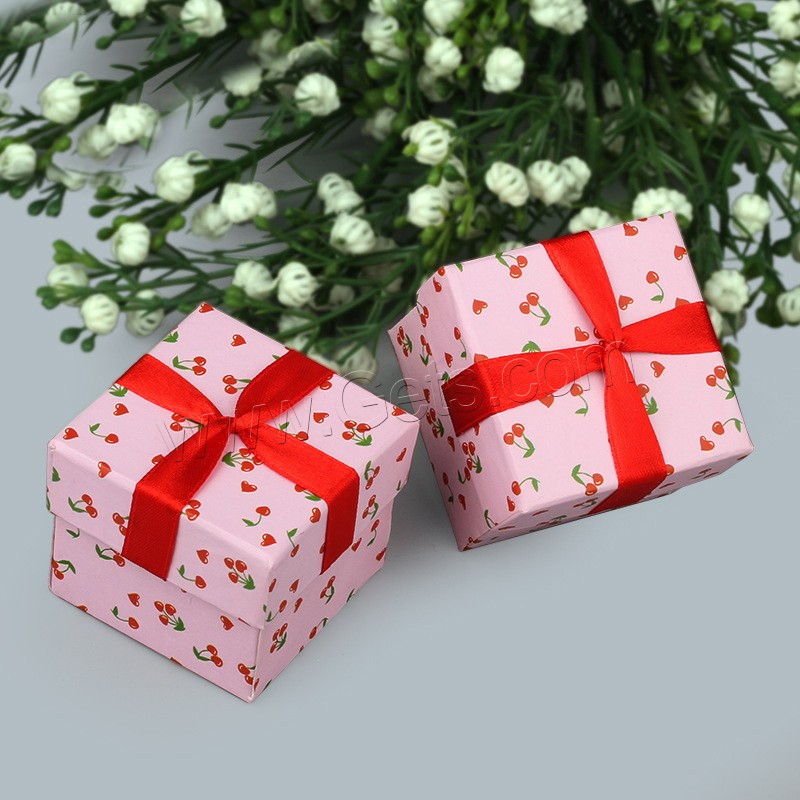 Cardboard Single Ring Box, with Satin Ribbon, Square, 45x45x40mm, Sold By PC