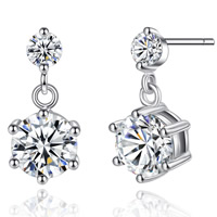 Cubic Zircon Brass Earring, platinum color plated, with cubic zirconia, nickel, lead & cadmium free, 7x15mm, Sold By Pair