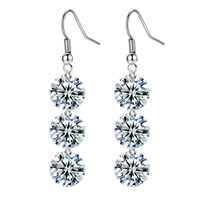Cubic Zircon Brass Earring, platinum color plated, with cubic zirconia, nickel, lead & cadmium free, 8x40mm, Sold By Pair