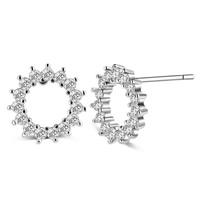 Cubic Zircon Brass Earring, platinum color plated, with cubic zirconia, nickel, lead & cadmium free, 10mm, Sold By Pair