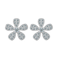 Cubic Zirconia Micro Pave Brass Earring, Flower, platinum color plated, micro pave cubic zirconia, nickel, lead & cadmium free, 10.5mm, Sold By Pair