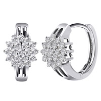 Cubic Zirconia Micro Pave Brass Earring, platinum color plated, micro pave cubic zirconia, nickel, lead & cadmium free, 14x17mm, Sold By Pair