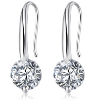 Cubic Zircon Brass Earring, platinum color plated, with cubic zirconia, nickel, lead & cadmium free, 8mm, Sold By Pair