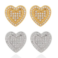 Cubic Zirconia Micro Pave Brass Earring, Heart, plated, micro pave cubic zirconia, more colors for choice, nickel, lead & cadmium free, 13mm, Sold By Pair