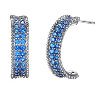 Cubic Zirconia Micro Pave Brass Earring, platinum color plated, micro pave cubic zirconia, nickel, lead & cadmium free, 18x5mm, Sold By Pair
