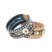 Unisex Bracelet, Cowhide, with Synthetic Turquoise & Zinc Alloy, gold color plated, 3-strand & with rhinestone, more colors for choice, Length:Approx 7.8 Inch, Sold By Strand