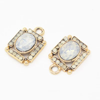 Crystal Zinc Alloy Pendants, with Crystal, Rectangle, gold color plated, with rhinestone, 14x20x6mm, Hole:Approx 1mm, Sold By PC