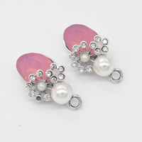 Crystal Zinc Alloy Pendants, with Resin Pearl & Crystal, platinum color plated, with rhinestone, 15x26x12mm, Hole:Approx 1mm, Sold By PC