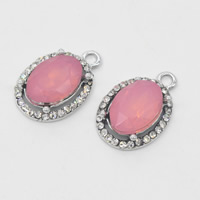 Crystal Zinc Alloy Pendants, with Crystal, Flat Oval, platinum color plated, faceted & with rhinestone, 15x22x6mm, Hole:Approx 1mm, Sold By PC