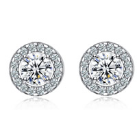Cubic Zirconia Micro Pave Brass Earring, Flat Round, platinum color plated, micro pave cubic zirconia, nickel, lead & cadmium free, 6-10mm, Sold By Pair
