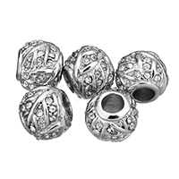 Stainless Steel European Beads, without troll & with rhinestone, original color, 12x10x12mm, Hole:Approx 4.5mm, Sold By PC