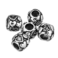 Stainless Steel European Beads, without troll & with rhinestone & blacken, 10x9x10.5mm, Hole:Approx 5mm, Sold By PC