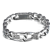 Men Bracelet, Stainless Steel, with Velveteen, twist oval chain & for man & blacken, 53x16x5mm, 16x12x6mm, Length:Approx 9 Inch, Sold By Strand