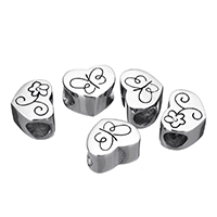 Stainless Steel European Beads, Heart, without troll & blacken, 10x9x7mm, Hole:Approx 5mm, Sold By PC
