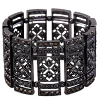 Unisex Bracelet, Zinc Alloy, plumbum black color plated, faceted & with rhinestone, lead & cadmium free, 80mm, Length:Approx 9.5 Inch, Sold By Strand