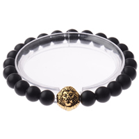 Unisex Bracelet, Black Agate, with Zinc Alloy, Lion, antique gold color plated, natural & frosted, 8mm, Length:Approx 7.8 Inch, Sold By Strand
