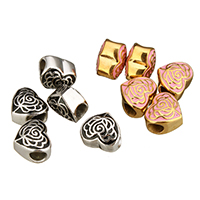 Stainless Steel European Beads, Heart, plated, without troll & enamel, more colors for choice, 12.5x11.5x9.5mm, Hole:Approx 5mm, Sold By PC