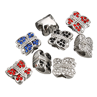 Stainless Steel European Beads, Butterfly, without troll & with rhinestone, more colors for choice, 12x12x9mm, Hole:Approx 4.7mm, Sold By PC