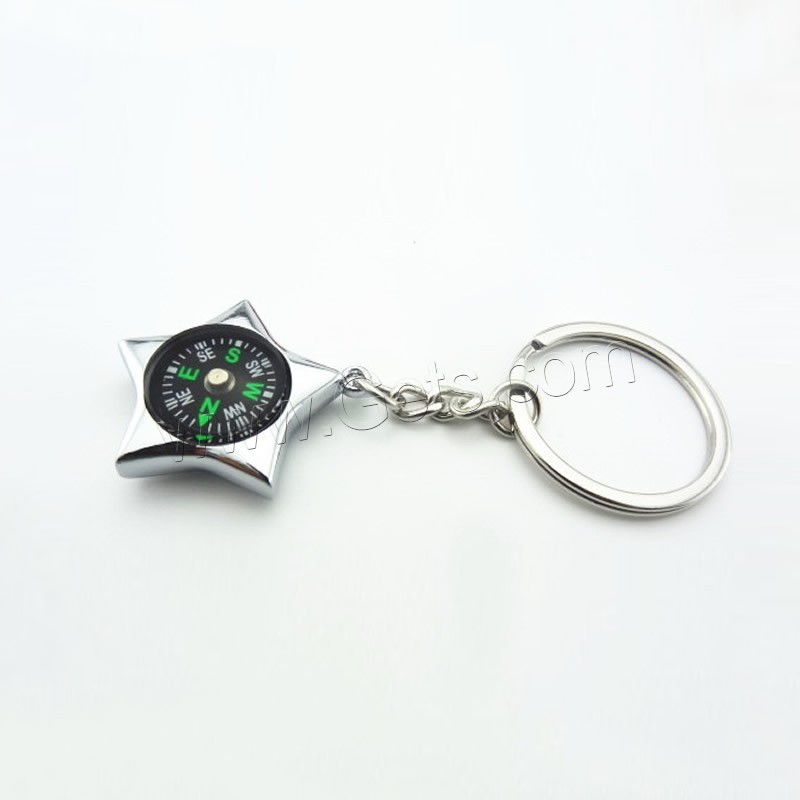 zinc alloy key chain jewelry with iron ring star platinum color plated with compass with bottle. Black Bedroom Furniture Sets. Home Design Ideas