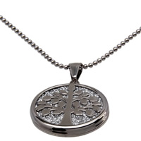 Stainless Steel Pendants, 316L Stainless Steel, Flat Round, for woman & stardust, original color, 30x34x4mm, Hole:Approx 3x5mm, Sold By PC