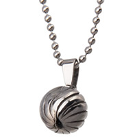 Stainless Steel Pendants, 316L Stainless Steel, Round, for man & corrugated & blacken, 12x15.5mm, Hole:Approx 3x5mm, Sold By PC