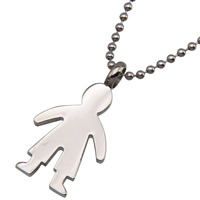 Stainless Steel Pendants, 316L Stainless Steel, Character, for man, original color, 17x34x2mm, Hole:Approx 3mm, Sold By PC