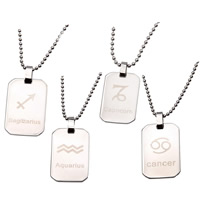 Stainless Steel Pendants, 316L Stainless Steel, Rectangle, zodiac jewelry & Unisex & different designs for choice, original color, 21.9x34mm, Hole:Approx 4mm, Sold By PC