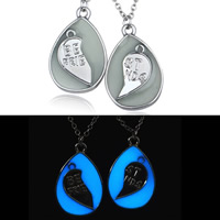 Couple Zinc Alloy Necklace, with Epoxy Sticker & iron chain, Teardrop, platinum color plated, oval chain & with letter pattern & for couple & luminated, lead & cadmium free, 30mm, Length:Approx 17.5 Inch, 2Strands/Pair, Sold By Pair