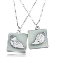 Couple Zinc Alloy Necklace, with Epoxy Sticker & iron chain, Square, platinum color plated, oval chain & with letter pattern & for couple & luminated, lead & cadmium free, 30mm, Length:Approx 17.5 Inch, Sold By Strand