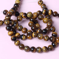 Tiger Eye Beads, Round, different size for choice, Hole:Approx 1mm, Length:Approx 15 Inch, Sold By Strand
