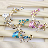 Mobile Phone DIY Decoration, Zinc Alloy, with Crystal, gold color plated, faceted & with rhinestone, more colors for choice, lead & cadmium free, 46x65mm, Sold By PC
