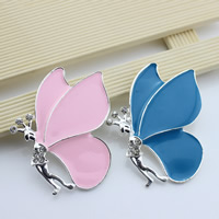 Mobile Phone DIY Decoration, Zinc Alloy, Butterfly, platinum color plated, enamel & with rhinestone, more colors for choice, lead & cadmium free, 58x45mm, Sold By PC