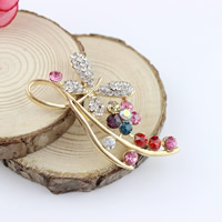 Mobile Phone DIY Decoration, Zinc Alloy, gold color plated, with rhinestone, lead & cadmium free, 25x54mm, Sold By PC