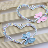 Mobile Phone DIY Decoration, Zinc Alloy, Heart, painted, enamel & with rhinestone, more colors for choice, lead & cadmium free, 40x62mm, Hole:Approx 2mm, Sold By PC