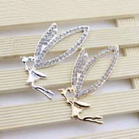 Mobile Phone DIY Decoration, Zinc Alloy, Fairy, plated, with rhinestone, more colors for choice, lead & cadmium free, 64x41mm, Sold By PC
